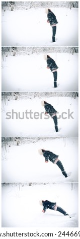 Dynamic photo of young woman falling down on her back on snow. Young girl in black playing in winter landscape. Attractive young woman in warm soft clothes outdoor in a winter day - stock photo