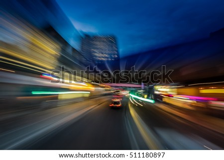 Dynamic picture of a London street at dusk