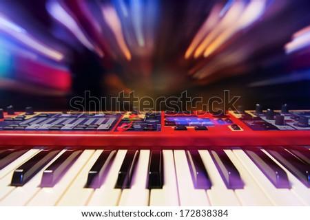 Dynamic synthesizer. - stock photo
