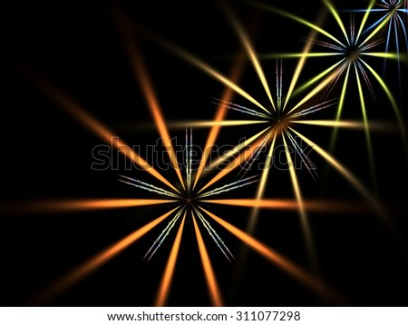Dynamic three dimensional star flowers abstract fractal background - stock photo