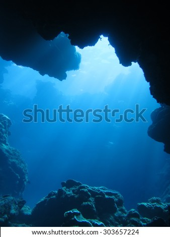 Dynamic undersea-scape scuba diving in Okinawa-Aguni island - stock photo