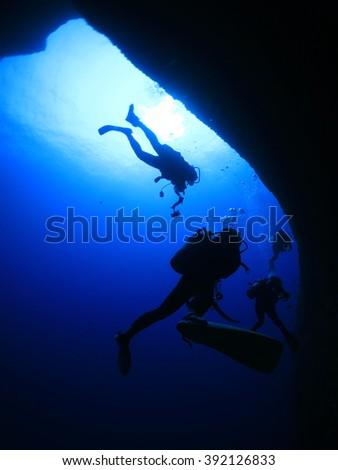 Dynamic undersea-scape with some divers in Okinawa-Miyako island