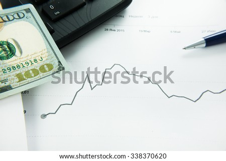 dynamics of exchange rates Dollar and euro chart. Business concept - stock photo