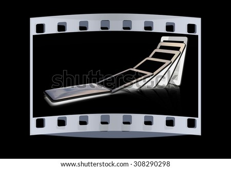 dynamics of the fall of the phone on a black background. The film strip