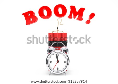 Dynamit with Alarm Clock and Boom Sign on a white background - stock photo