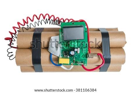 Dynamite bomb isolated on white background. - stock photo