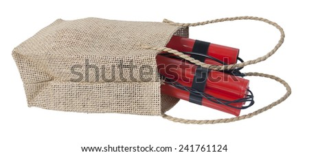 Dynamite in a Burlap bag made out of rough material - path included - stock photo