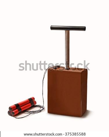 Dynamite stick and detonator kit. - stock photo