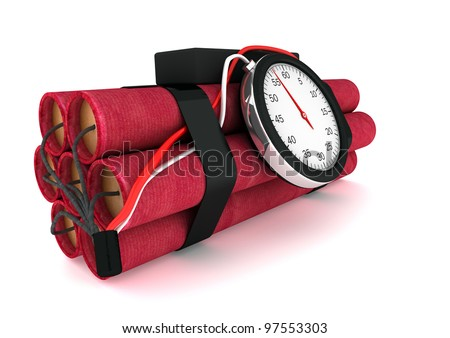 Dynamite with a clock on a white background - stock photo