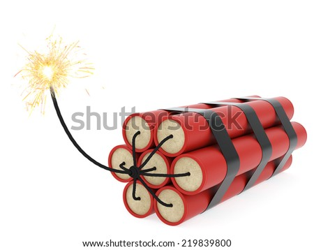Dynamite with burning wick on white background. High resolution 3D image - stock photo