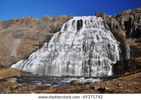 Dynjandi waterfall in a sunny day, West fjords, Iceland