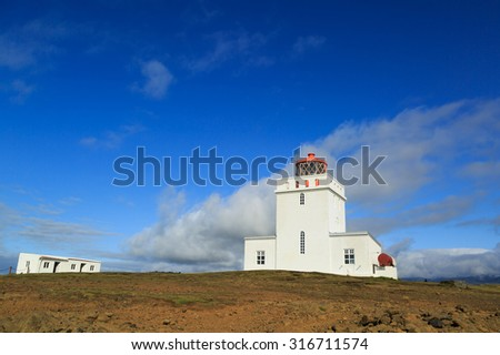 Dyrholaey lighthouse, iceland. Built in 1927 on a high promontory at the southernmost point of Iceland