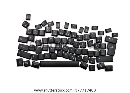 dyslexia black computer keyboard over white background