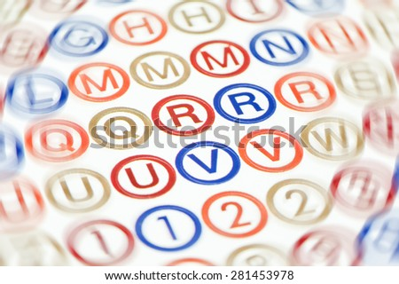 dyslexia concept of jumbled letters - stock photo