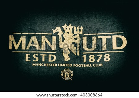 "DZERZHINSK, RUSSIA - APRIL 08, 2016: the logo of the soccer club ""Manchester United"" on an official jersey"
