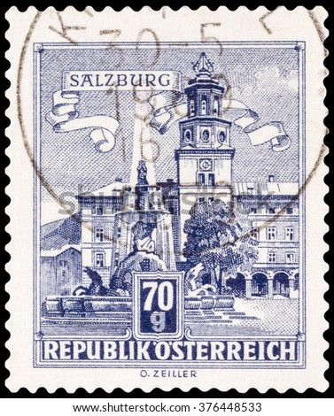 DZERZHINSK, RUSSIA - FEBRUARY 04, 2016: A postage stamp of AUSTRIA shows Residenz Fountain, Salzburg, circa 1957