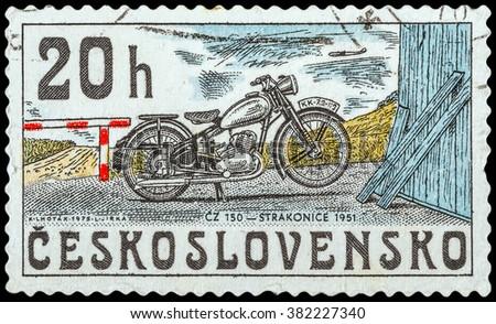 DZERZHINSK, RUSSIA - FEBRUARY 11, 2016: A postage stamp of CZECHOSLOVAKIA shows Motorcycle, Strakonice, 1951, circa 1975 - stock photo