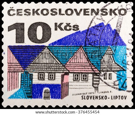 DZERZHINSK, RUSSIA - FEBRUARY 04, 2016: A postage stamp of CZECHOSLOVAKIA shows Wooden houses, Liptov, circa 1972
