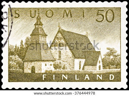 DZERZHINSK, RUSSIA - FEBRUARY 04, 2016: A postage stamp of FINLAND shows Lammi Church, circa 1956