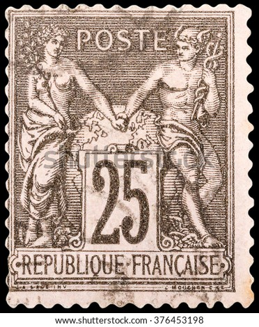 DZERZHINSK, RUSSIA - FEBRUARY 04, 2016: A postage stamp of FRANCE shows Athena and Hermes, series Peace and Trade, circa 1876 - stock photo