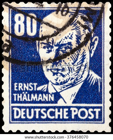 DZERZHINSK, RUSSIA - FEBRUARY 04, 2016: A postage stamp of GERMANY shows portrait of Ernst Thalmann (leader of the Communist Party of Germany), circa 1952