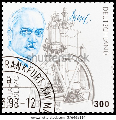 DZERZHINSK, RUSSIA - FEBRUARY 04, 2016: A postage stamp of GERMANY shows portrait of Rudolf Diesels and Engine, Centenary, circa 1997 - stock photo