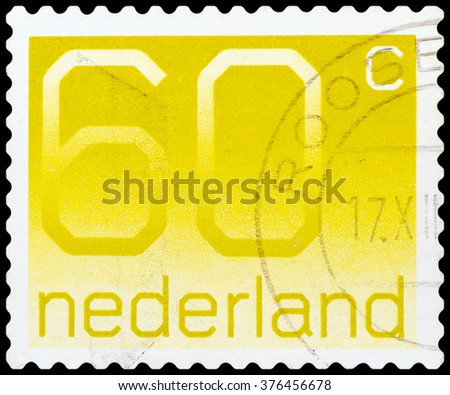 DZERZHINSK, RUSSIA - FEBRUARY 04, 2016: A postage stamp of NETHERLANDS shows Postage Stamp par 60 cents, circa 1980 - stock photo