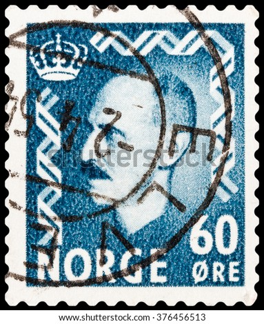 DZERZHINSK, RUSSIA - FEBRUARY 04, 2016: A postage stamp of NORWAY shows portrait of King Haakon VII (1872-1957), circa 1950