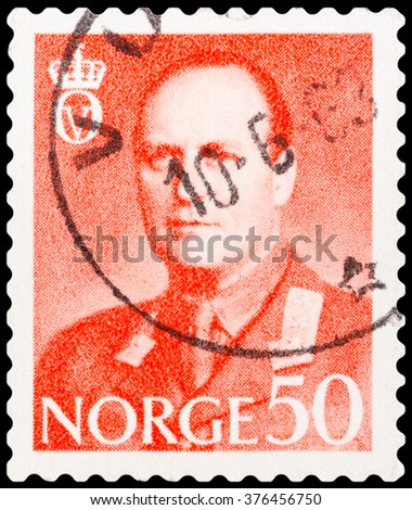 DZERZHINSK, RUSSIA - FEBRUARY 04, 2016: A postage stamp of NORWAY shows portrait of King Olav V, circa 1958