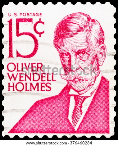 DZERZHINSK, RUSSIA - FEBRUARY 04, 2016: A postage stamp of USA shows Portrait of Oliver Wendell Holmes, Jr., circa 1979 - stock photo