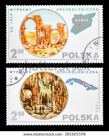 DZERZHINSK, RUSSIA - FEBRUARY 11, 2016: Set of a postage stamp of POLAND shows Expedition to Syria and Cuba, circa 1980 - stock photo