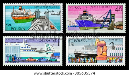 DZERZHINSK, RUSSIA - FEBRUARY 11, 2016: Set of a postage stamp of POLAND shows Sea ports, circa 1980 - stock photo