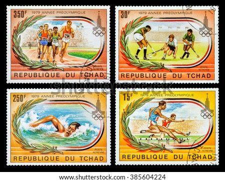 DZERZHINSK, RUSSIA - FEBRUARY 11, 2016: Set of a postage stamp of REPUBLIC OF CHAD shows Summer Games in Moscow in 1980, circa 1979 - stock photo