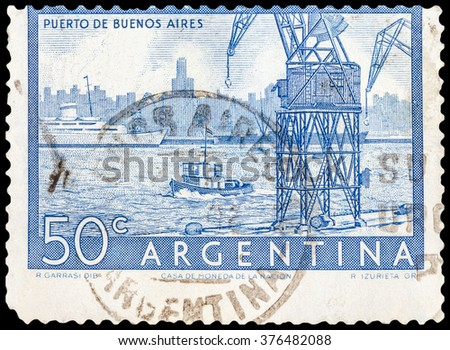 DZERZHINSK, RUSSIA - JANUARY 18, 2016: A postage stamp of ARGENTINA shows Buenos Aires Harbor, circa 1956 - stock photo