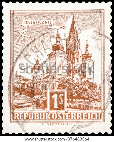 DZERZHINSK, RUSSIA - JANUARY 18, 2016: A postage stamp of AUSTRIA shows church in Austrian city Mariazell, circa 1957