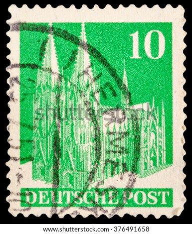 DZERZHINSK, RUSSIA - JANUARY 18, 2016: A postage stamp of GERMANY shows building, circa 1949