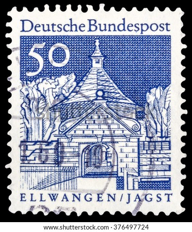 "DZERZHINSK, RUSSIA - JANUARY 18, 2016: A postage stamp of GERMANY shows Castle Gate, Ellwangen, series ""Historic Buildings"", circa 1966"