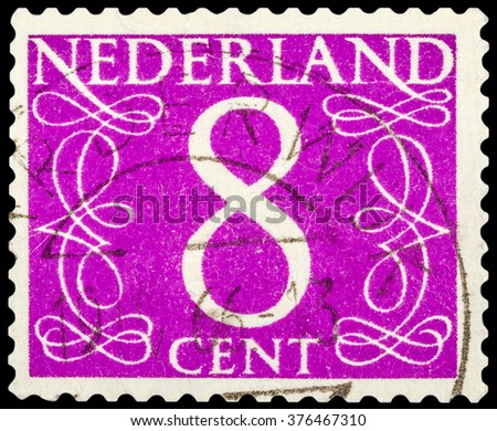 DZERZHINSK, RUSSIA - JANUARY 18, 2016: A postage stamp of NETHERLANDS shows numeric value 8 cent, circa 1955 - stock photo