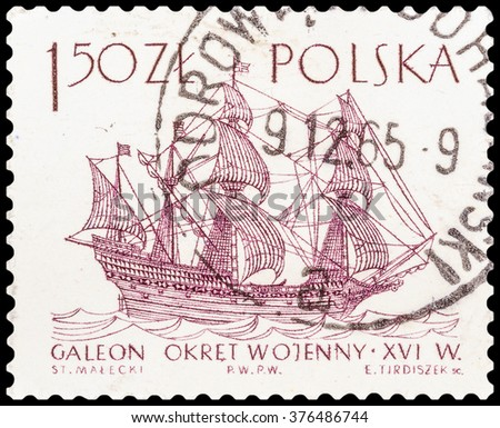 DZERZHINSK, RUSSIA - JANUARY 18, 2016: A postage stamp of POLAND shows sailing ship galeon,16th century, circa 1965 - stock photo