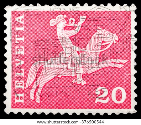 """DZERZHINSK, RUSSIA - JANUARY 18, 2016: A postage stamp of SWITZERLAND shows 17th century Fribourg Cantonal messenger, """"Postal History and Architectural Monuments"""", circa 1960 - stock photo"""