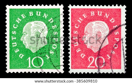 DZERZHINSK, RUSSIA - JANUARY 18, 2016: Set of a postage stamp of GERMANY shows portrait first President of the Federal Republic of Germany Theodor Heuss, circa 1959