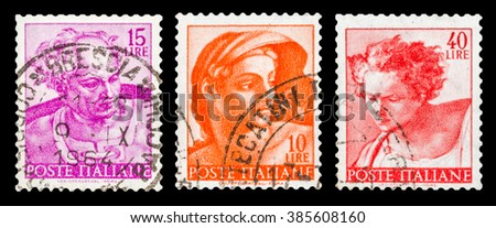 DZERZHINSK, RUSSIA - JANUARY 18, 2016: Set of a postage stamp of ITALY shows fragments of Michelangelo paintings, circa 1961 - stock photo