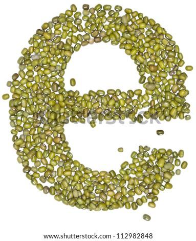 e,alphabet form green beans on white. - stock photo