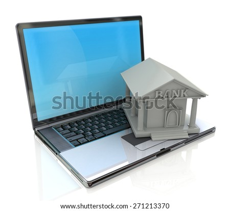 e-banking, e banking, laptop with bank 3d icon  - stock photo