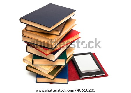 e-book and old books on a white background - stock photo