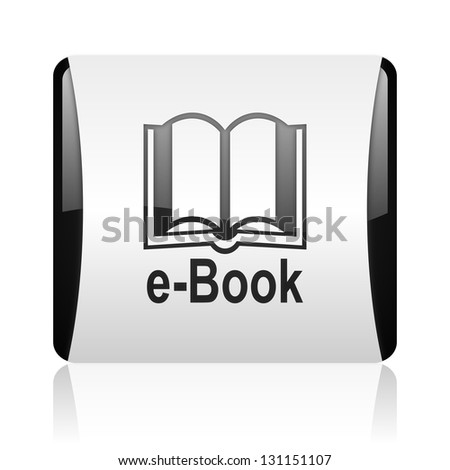 e-book black and white square web glossy icon
