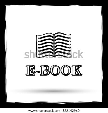 E-book icon. Internet button on white background. Outline design imitating paintbrush. - stock photo