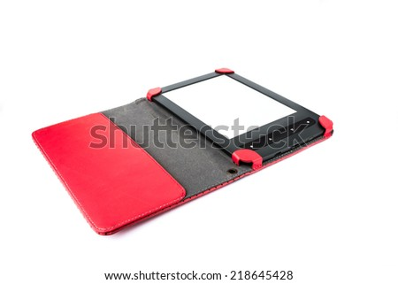 E-book in a red cover on a white perforated isolated background