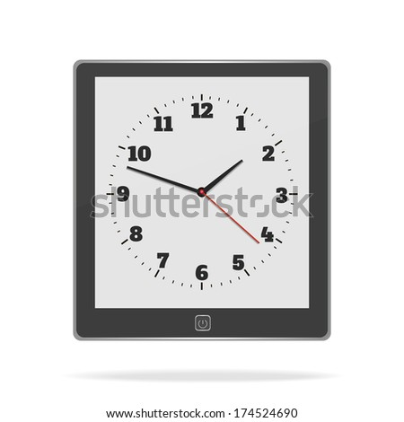 E book on white background with clock. Raster version - stock photo