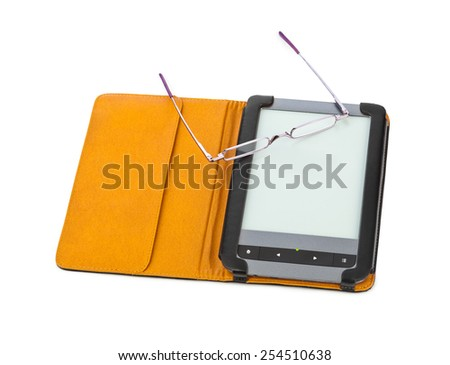 E-book reader and glasses isolated on white background - stock photo